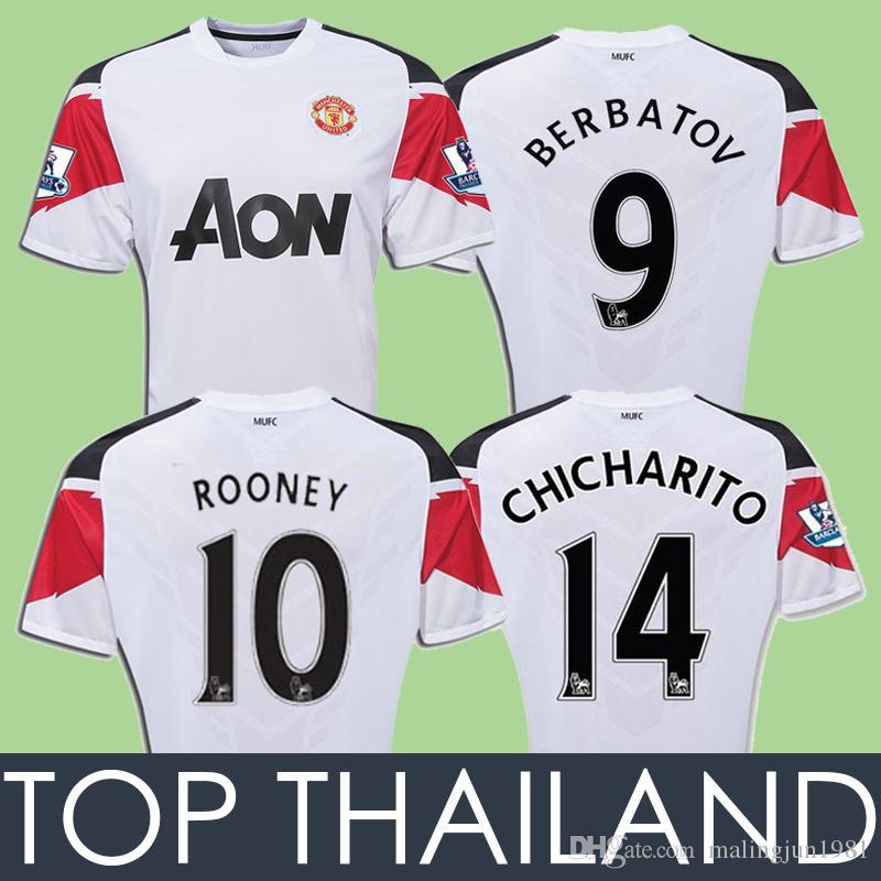 452542105c9 2019 10 11 UTD Away Rooney Soccer Jersey Man Berbatov Giggs J.S.Park  Scholes Chicharito Vidic Nani Scholes Champions 2010 2011 Retro Jerseys  From ...