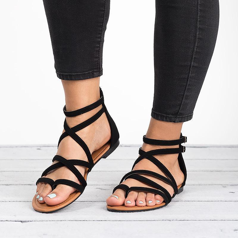 Sandalias Planas 2019 Mujer Tamaño Cross De Rome Mujeres Zipper Correa Beach Señoras Más Tobillo Tied Zapatos Nuevas Verano 35 43 TcuK1JFl35