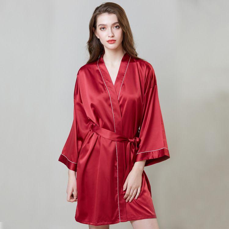 ea2044f1 Bata de manga larga para mujer de imitación de seda pijama vestido de noche  Sexy camisón camisón ropa de dormir ropa de dormir camisón de noche ...