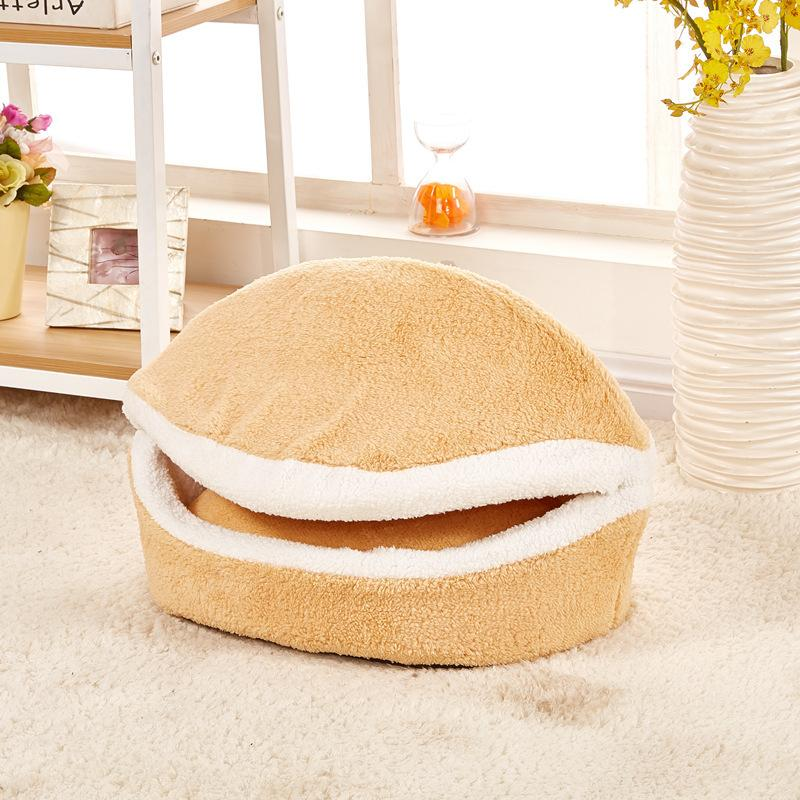 YUYU Warm Cat Bed Dog House Hamburger bed Disassem Blability Windproof Pet Mat Puppy Nest Shell Hiding Burger Bun For Winter D19011506
