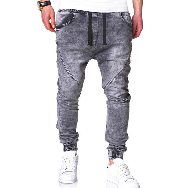 b64a329dfb9df Compre Pantalones Vaqueros Con Cordón Para Hombre Slim Fit Denim Joggers  Jeans Hombre Lápiz Pantalón Los Hombres Estiran Elásticos Jean Pantalones  Lápiz A ...