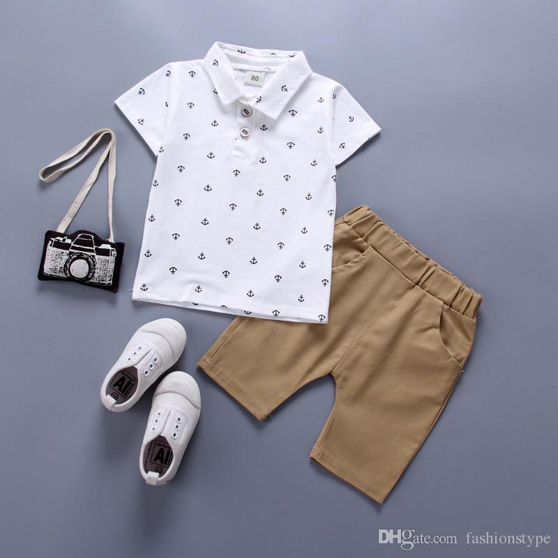 1c0327826cad3 Jungen Kleidung Sets Sommer Baby Jungen Kleidung Anzug Gentleman Style Polo  Shirt Pants 2 stücke Kleidung für Jungen Sommer kleidung ...