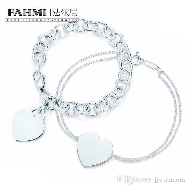 FAHMI Charm For Gifts 925 Sterling Silver Heart Shaped Women'S Elegant Tif Bracelet Lock Tif Bracelet Silverware Matching World Birthstone Charm Bracelet ...