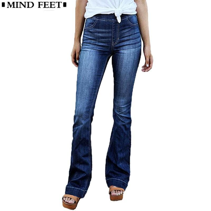 a50c3f8f3a9 2019 MIND FEET Women Flare Jeans Elastic Waist Blue Wide Leg Denim Pants  Plus Size Female Fashion Trend Casual Loose Trousers Spring From Seein