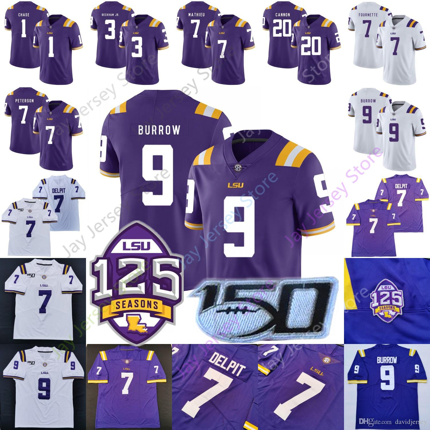 LSU Tigers Football Jersey College Joe Burrow Odell Beckham Jr. Grant Delpit Tyrann Mathieu Leonard Fournette Patrick Peterson Cannon Chase