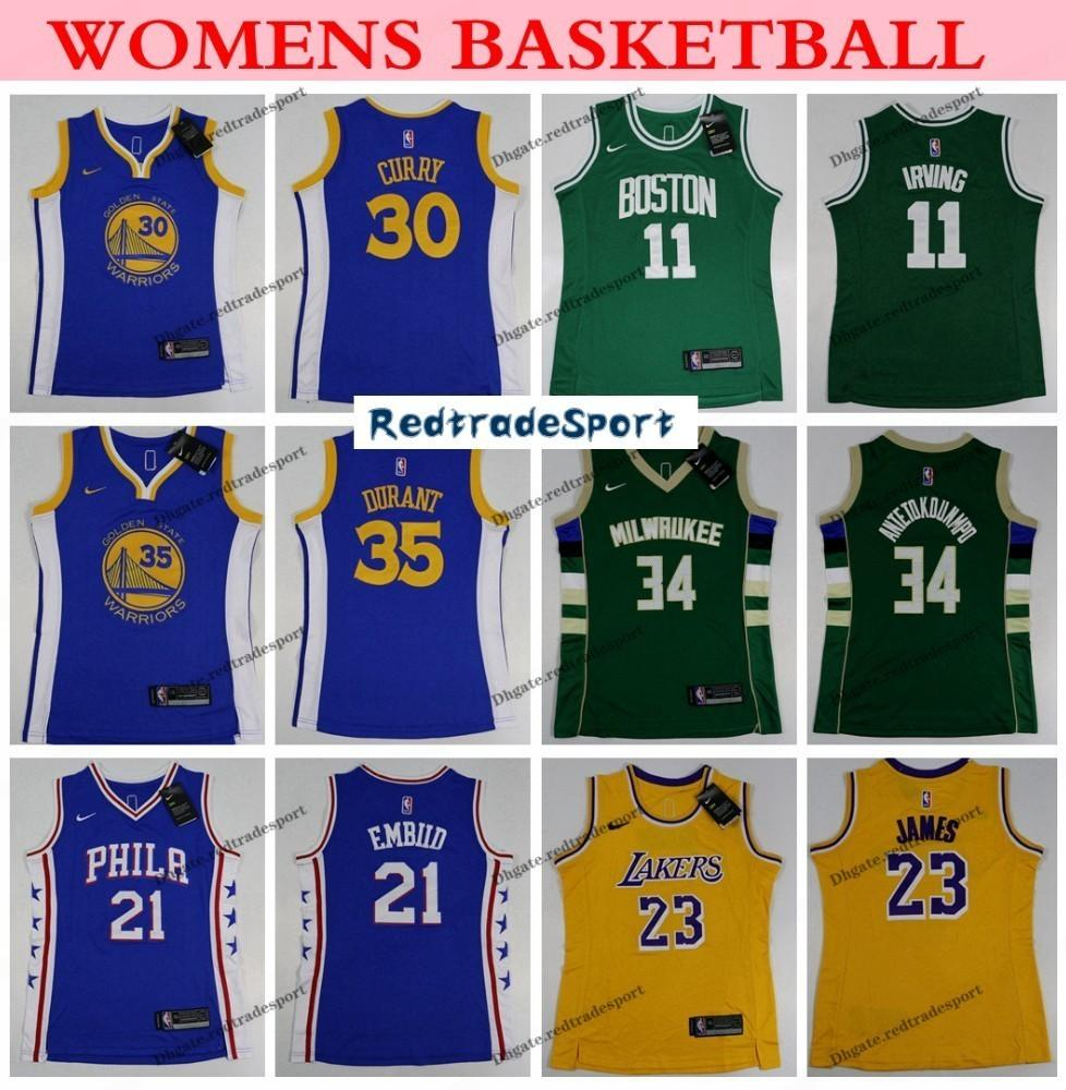 best loved 7990b 718e4 Womens Stephen Curry Kevin Durant Celtic Kyrie Irving Laker LeBron James  76ers Embiid Bucks Antetokounmpo Basketball Jersey