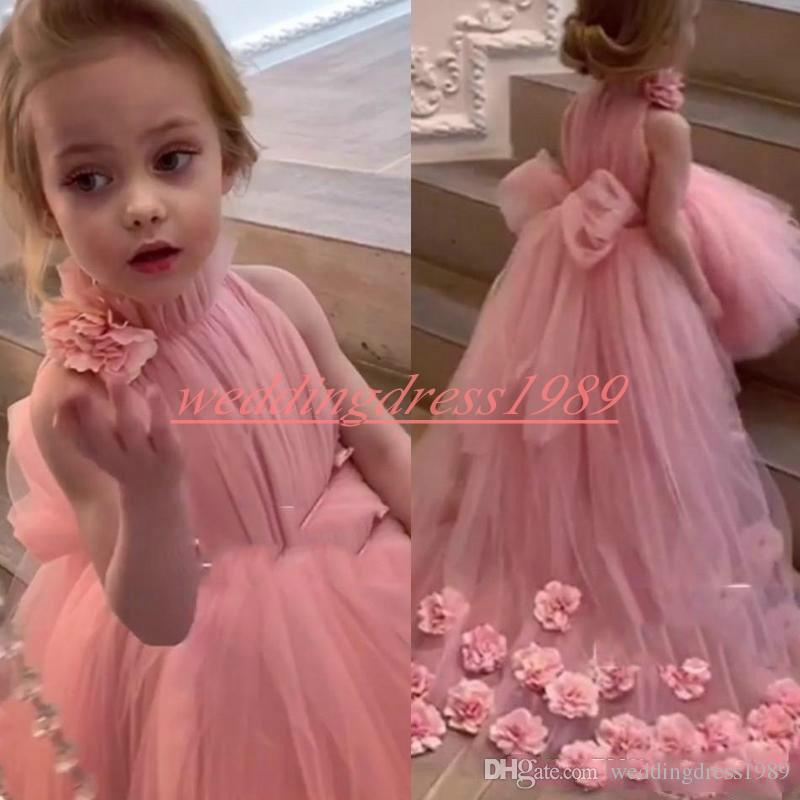 Handade Rose High Low Flower Girls Dresses Bow Pink Tulle Little First Communion Dress Kids Infant toddler Party Dress Girls Pageant Wear