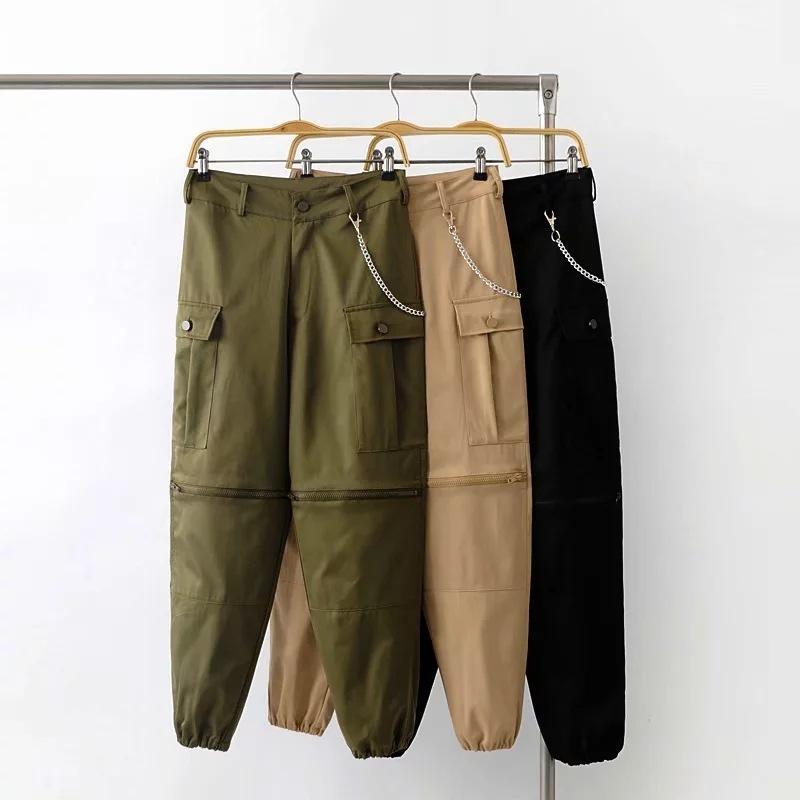 641392f8ae Compre Mujeres Cadenas De Cintura Alta Pantalones De Chándal Pantalones  Cargo De Color Caqui Pantalones Largos Largos Cremallera Negra Empalmados  Pantalones ...