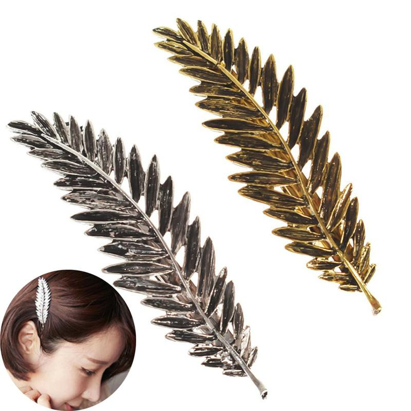 1Pcs Novelty Elegant Women Gold Silver Women Feather Leaf Leaves Barrette Hairpin Hair Clip Free Shipping