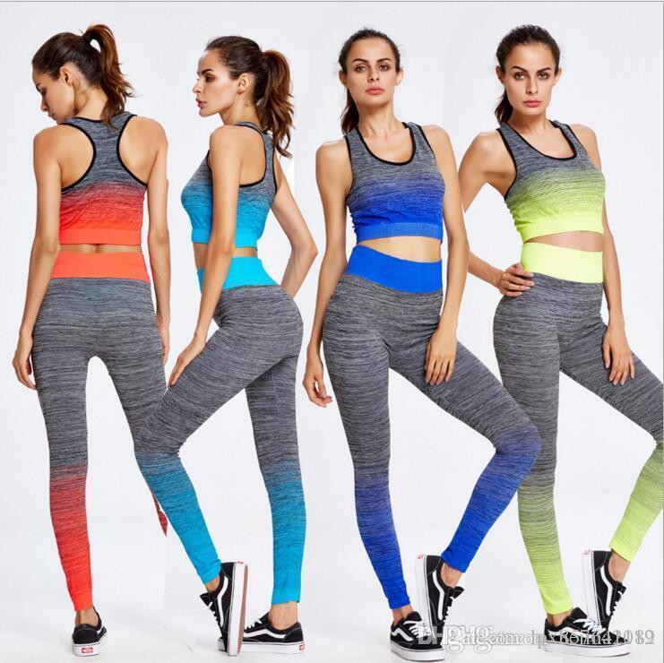 4bc0ec4b7 Compre Esporte Terno Mulheres Agasalho Yoga Set Ginásio De Fitness Correndo  Set Sportswear Leggings Apertados Macacões Roupas Esportivas De  Lpx857641182