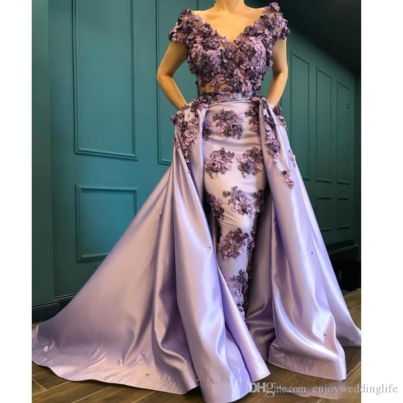 2020 Lavender 3D Appliques Off Shoulder Short Sleeves Satin Evening Dresses Glamorous Saudi Sheath Prom Party Gowns Custom