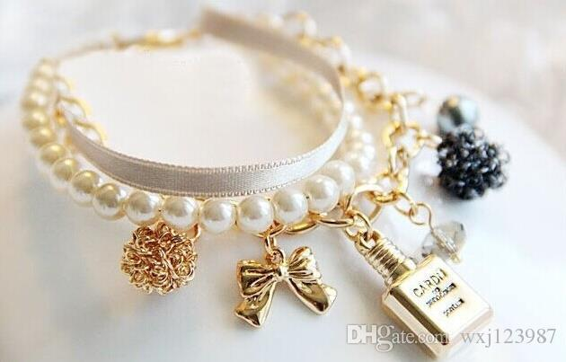 Korean new girl perfume bottle decorative bracelet pearl ribbon bow crystal bracelet