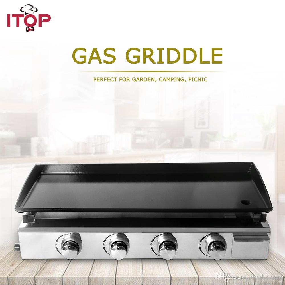 4 Burners Iron Plate Gas BBQ Grills LPG Gas Griddle Plancha Barbecue Grills  For Outdoor Camping Barbecue Tools Indoor Party Sheet Iron
