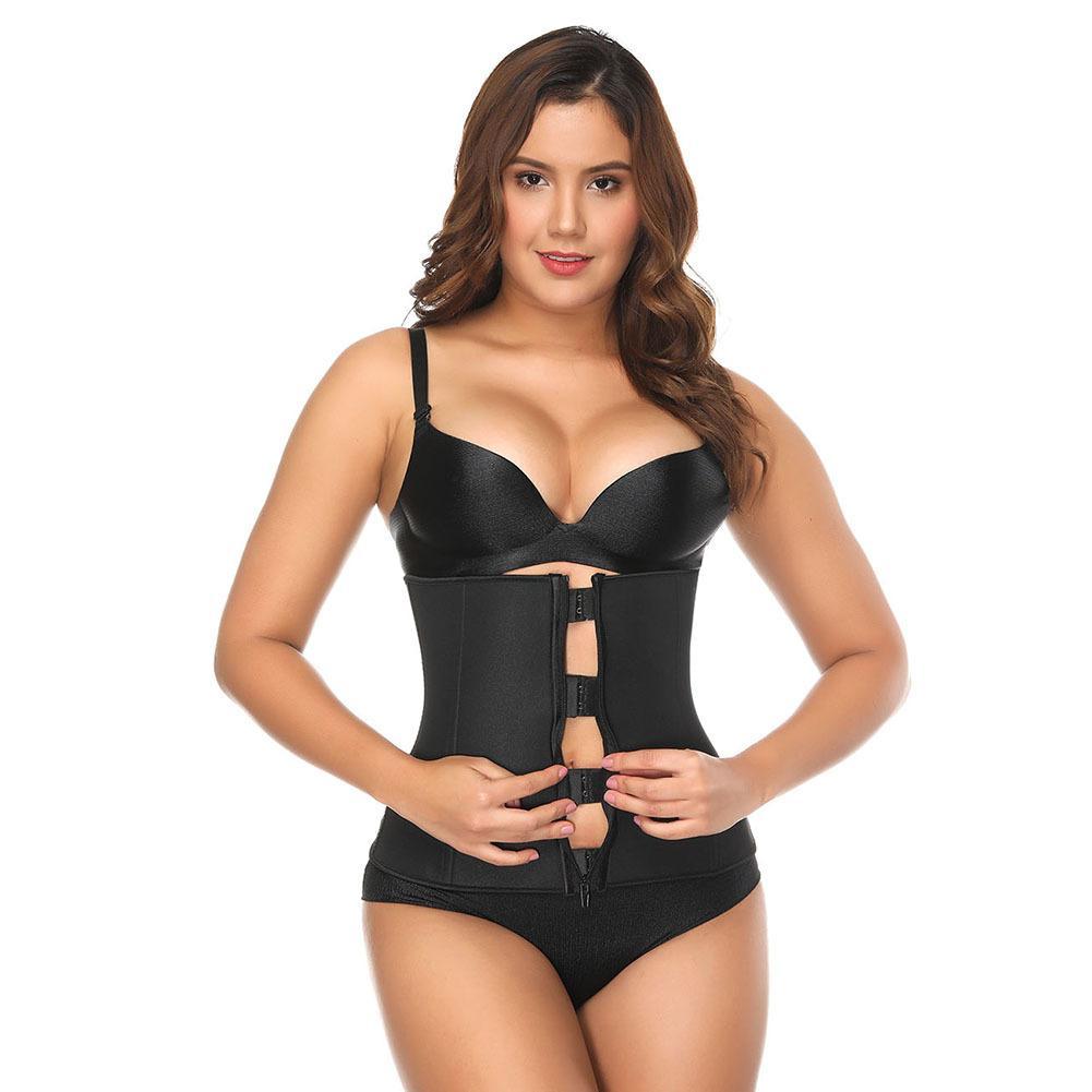03006589319 2019 Black Latex Waist Cincher Hot Body Shaper Neoprene Plastic Bone Corset  Slimming Vest Waist Trainer Plus Size Girdle Belt From Guichenshirt