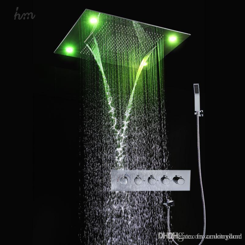 Swell Wholesale Multi Function Bathroom Faucet With Shower Rainfall Waterfall Curtain Rain Bath Shower Head Set Remote Control Led 161222 161225 Home Interior And Landscaping Eliaenasavecom