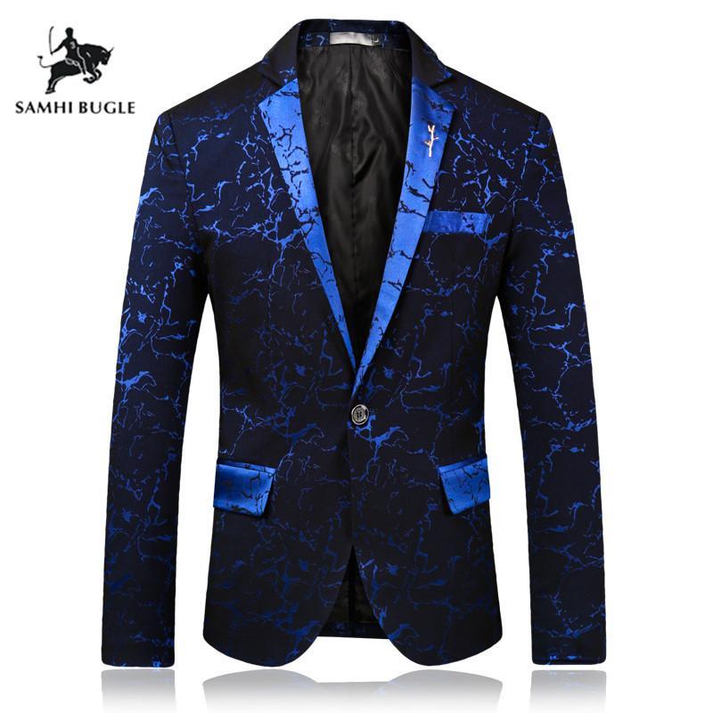 79ce7bd28 Marca de ropa para hombre 2019 Moda para hombre Blazer Commerce Casual Slim  Fit vestido de fiesta Blazer Hombres Escenario desgaste Chaquetas traje ...