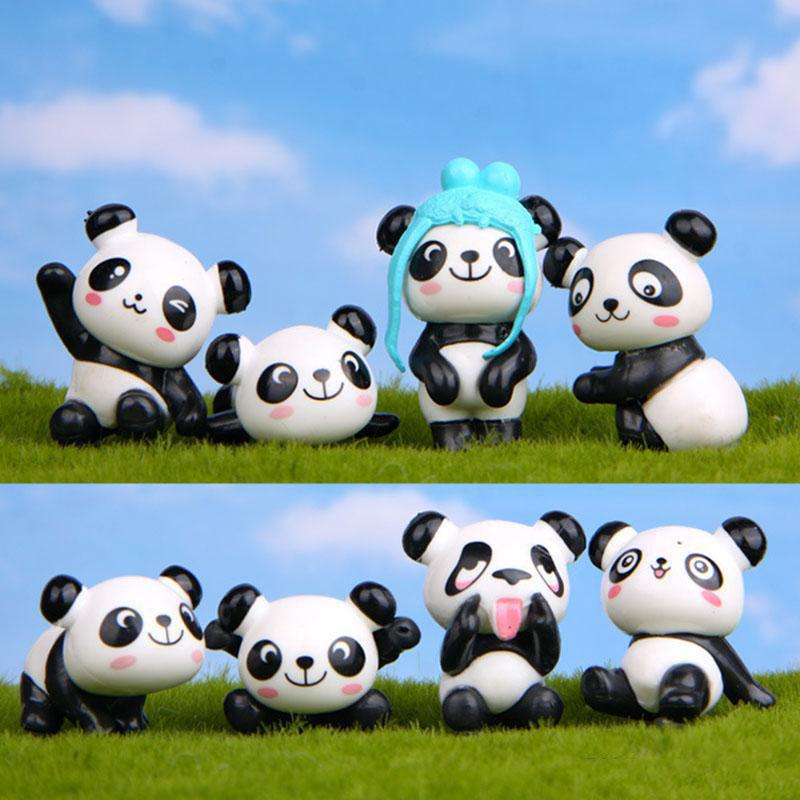8pcs/lot Zakka Giant Panda Playful Version Model PVC Figures Toys DIY Micro Landscape Decoration Toys Model Christmas Gift kids toys