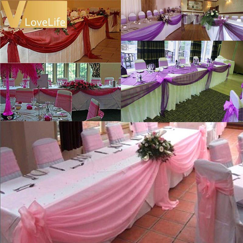 10 м х 1.4 м верхние столики гирлянды из органзы Swag ткани свадьба с бантом украшения стола DIY