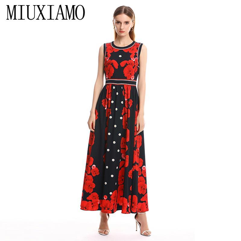 ead2b3fbfdc MIUXIMAO 2019 Spring Summer Long Dress New Arrival Fashion Sleeveless Floral  Dress Print Ankle Length Long Women Vestido Long Sleeve Dresses Blue Dress  From ...