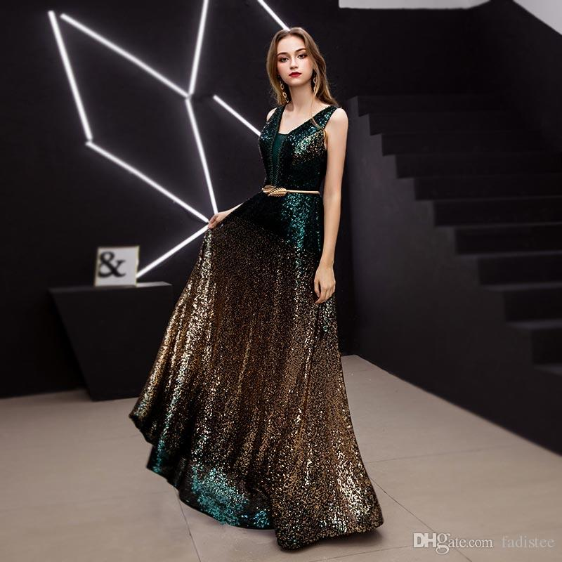 New arrival V-neck sleeveless evening dresses prom dress Classic formal gown long lace dark green gold sequins lace-up style 2019