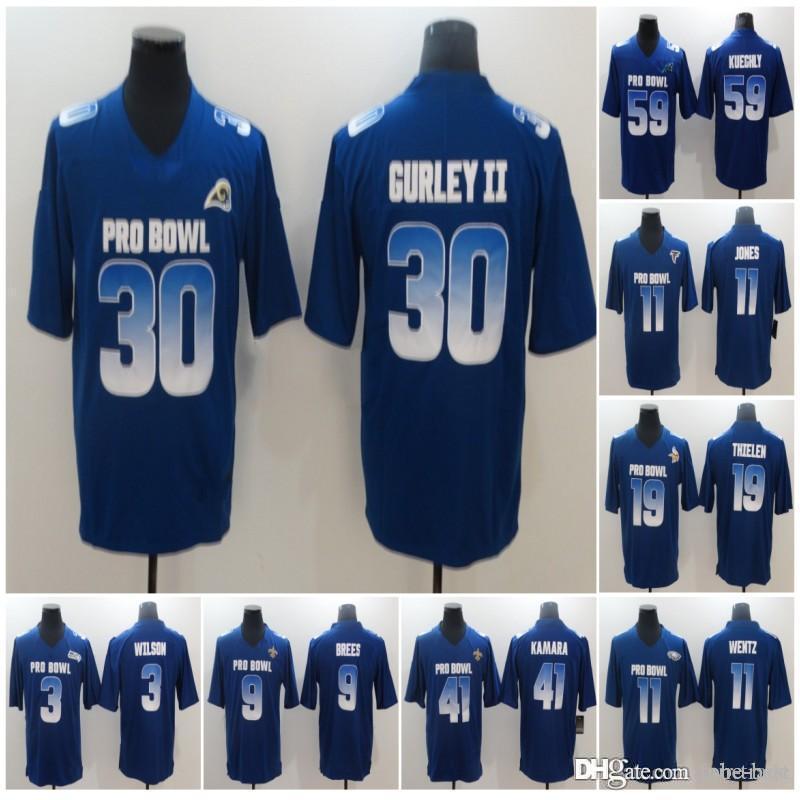 release date a8132 78861 2019 Pro Bowl NFC 21 Ezekiel Elliott 99 Aaron Donald 11 Julio Jones 59 Luke  Kuechly 52 Khalil Mack 16 Jared Goff Carson Wentz Royal Blue