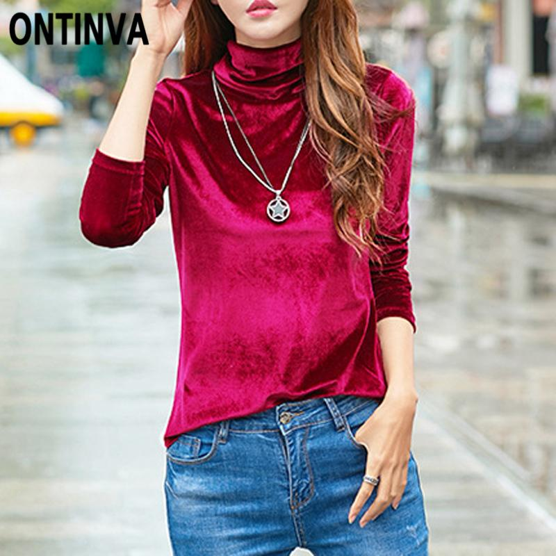fab7094a26cb88 Fashion Plus Size 3xl Turtleneck Velvet T Shirts Women Long Sleeve ...