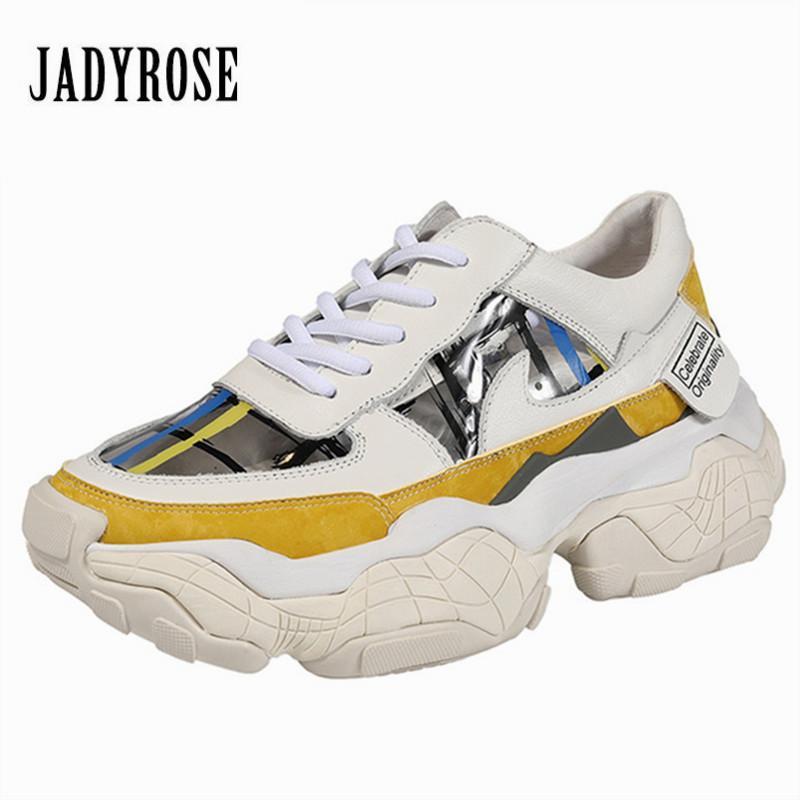 47f9c18f7f87 Jady Rose Mujeres de cuero genuino Zapatillas de deporte coloridas planas  casuales Zapatillas de mujer Zapatillas de mujer Plataformas Enredaderas ...