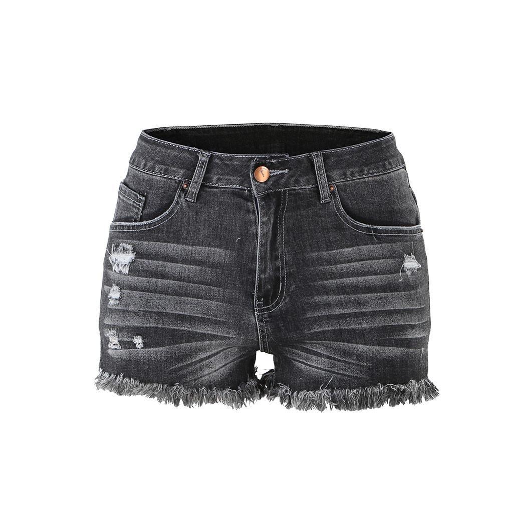 8a6b188fc32 Compre Pantalones Cortos De Mediana Altura Deshilachados Y Sin Dobladillo  Sin Doblar Pantalones Cortos De Mezclilla Jean Pantalones Vaqueros Pitillo  De ...