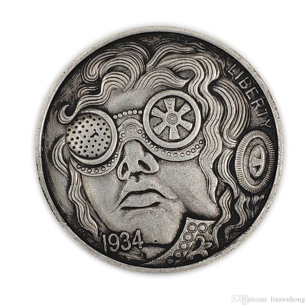 Hobo Creative Coin 1934 Mechanical flying glasses commemorative coin/silver  coin imitation set decoration handicraft factory wholesale