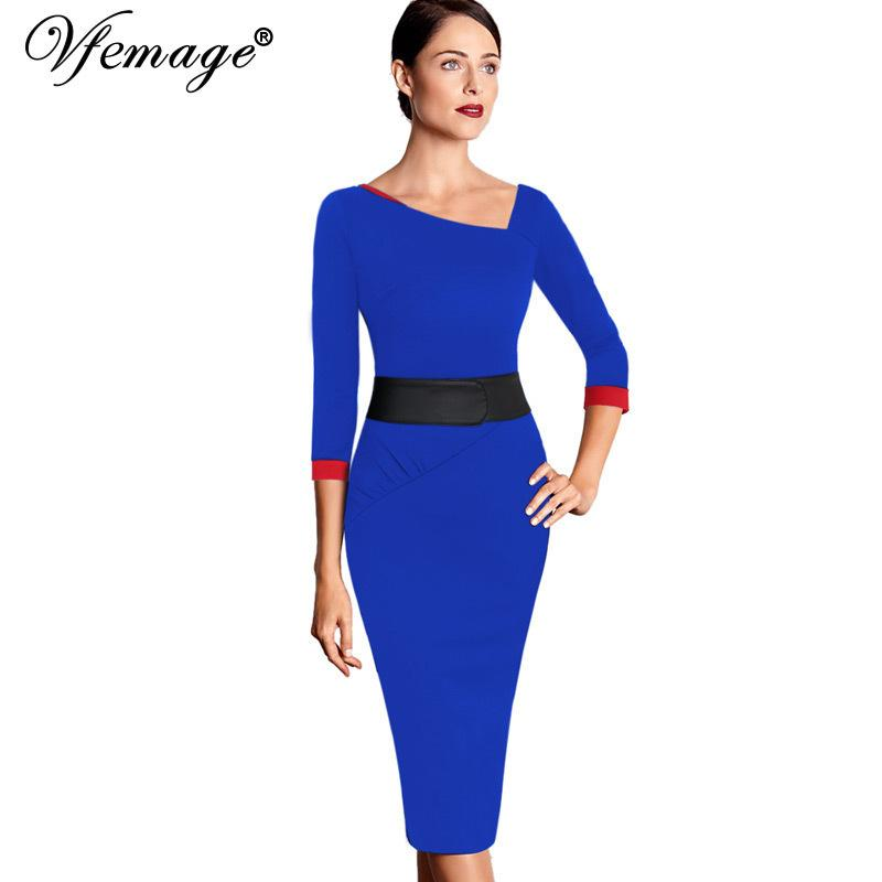 Vfemage Womens Asymmetric Neck Ruched Vintage Elegant Contrast Tunic Wear To Work Business Party Fitted Sheath Casual Dress 1908 Y19051001
