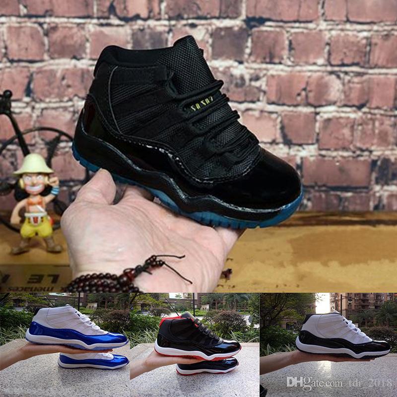 check-out 66f89 6ce80 Nike Air Jordan 11 Bred XI 11S Enfants Chaussure De Basket-ball Gym Rouge  Infantile Enfant Enfant En Bas Âge Gamma Bleu Concord 11 formateurs garçon  ...