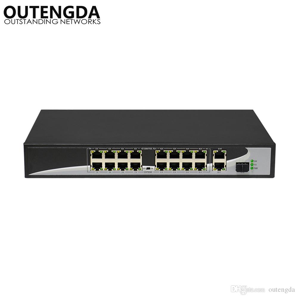 16 Ports POE Switch With 2 Gigabit Uplink 11000Mbps SFP Power To IP Camera Wireless AP Phone In Networks Internet From