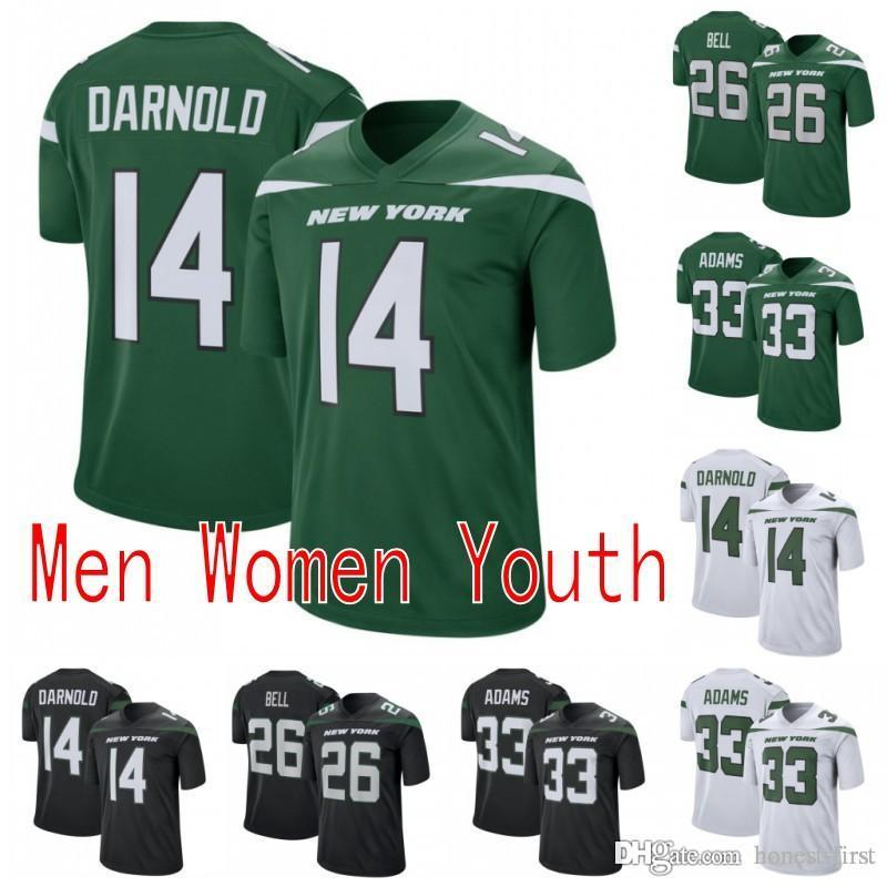 new arrival 6edf9 a55cf 26 Le'Veon Bell New York Mens Jets Jersey 14 Sam Darnold 33 Jamal Adams  2019 NEW Color Rush Game Green White Football Men Women Youth K