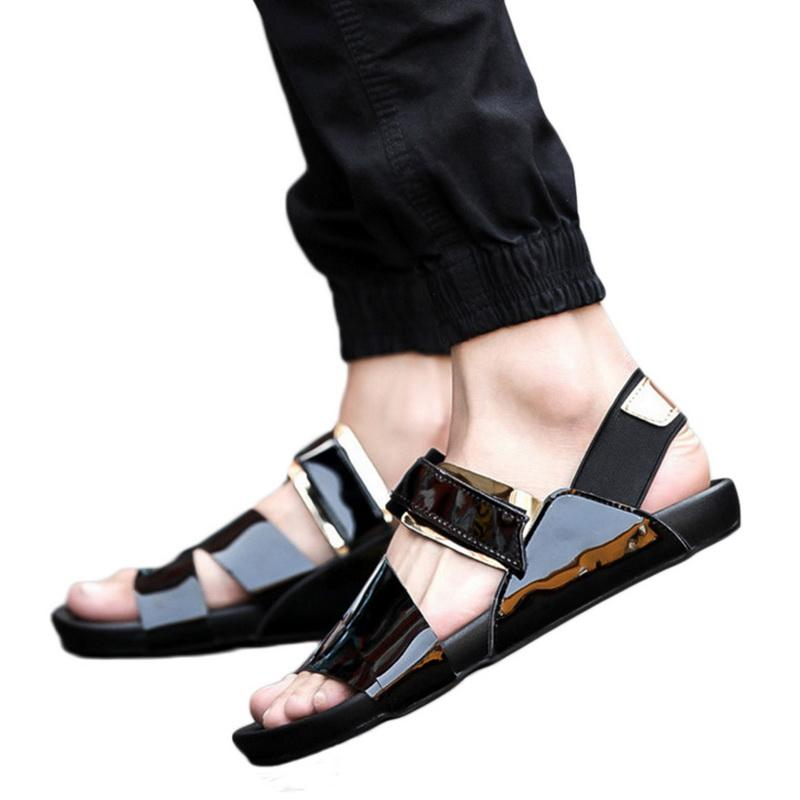 89022c104b Oeak Summer Male Sandals Men Gold Leather Shoes Open Toe Sandals Slippers  Fashion Casual Beach Gladiator Flat