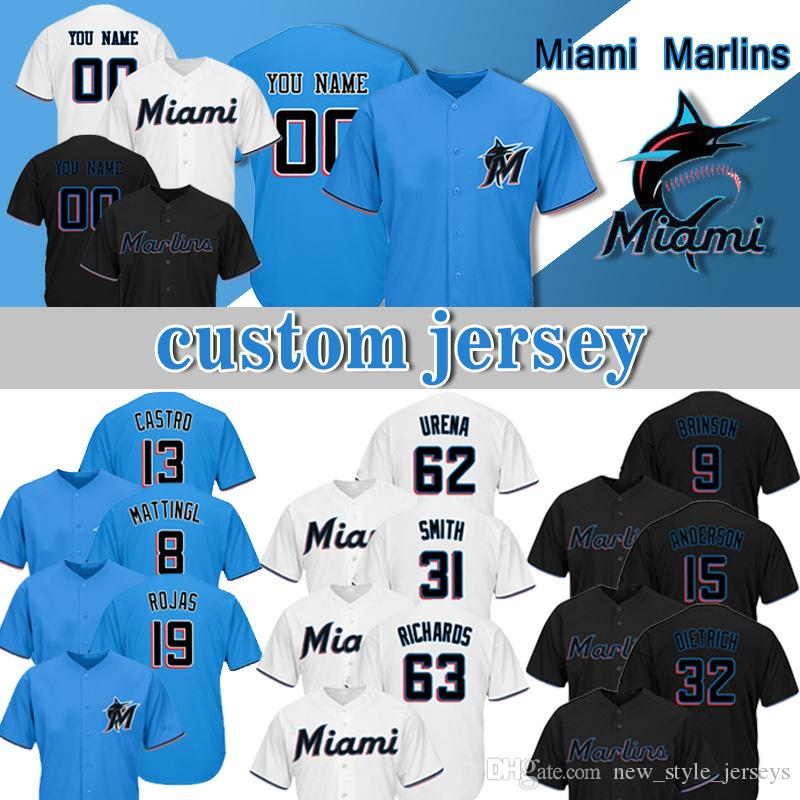 c7c2b321406 2019 Custom Miami Jersey Marlins 14 Martin Prado 19 Miguel Rojas 13 Starlin  Castro 31 Caleb Smith 63 Trevor Richards 66 Jarlin Garcia From  New style jerseys ...