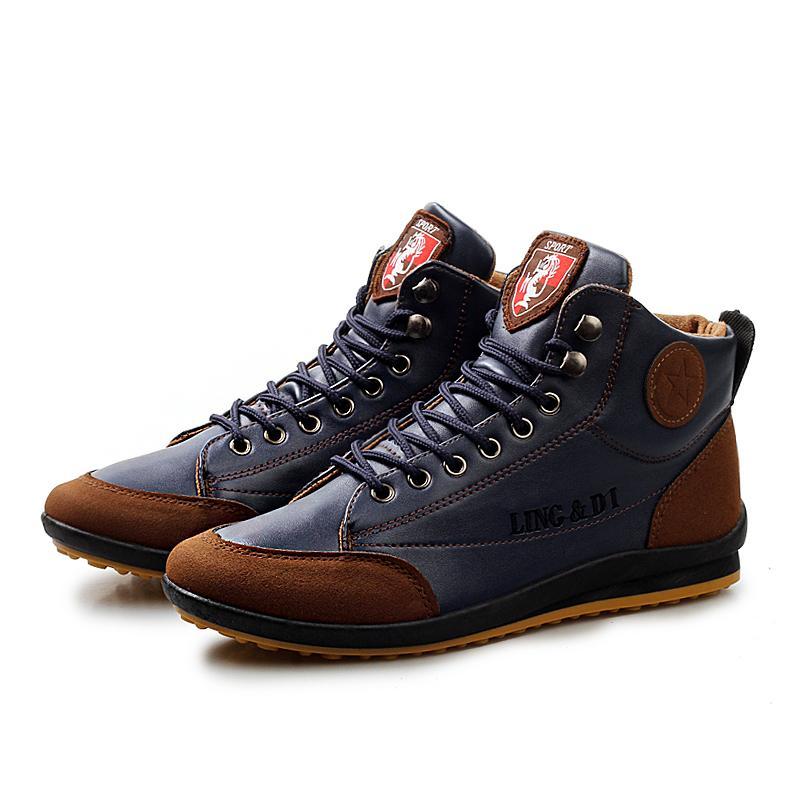 376b1b7b7 Men Boots Winter 2019 Fashion Leather Warm Plus Cotton Ankle Boots Autumn  Winter Boots Men Shoes Men Size 39 44 Winter Boots Over The Knee Boots From  ...