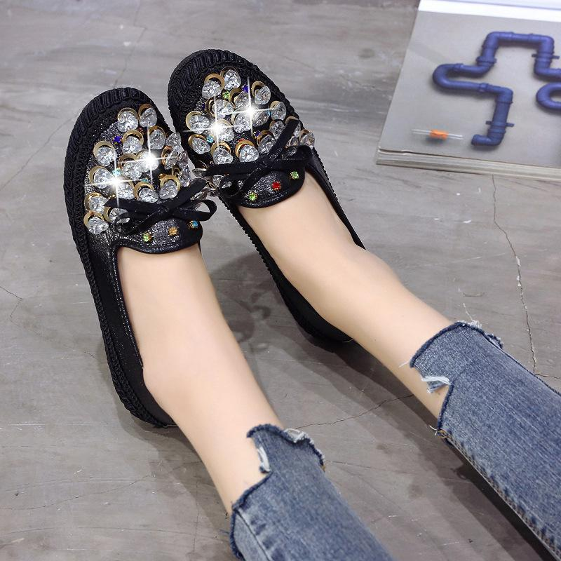 59d590f40ef0 Spring Autumn Women Flat Shoes Korean Fashion Crystal Slip On Casual Ladies  Shoes Pu Leather Comfortable Loafers Footwear Woman Wedges Shoes Black Shoes  ...