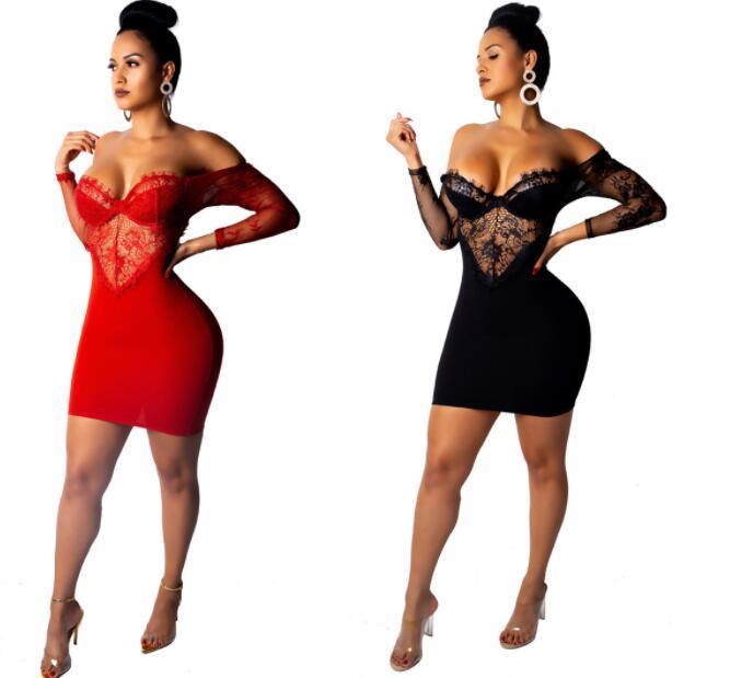 6afcaca37501 Acquista 2019 Vestito Da Club Sexy Delle Nuove Donne Eleganti Vestito Nero  E Rosso Backless Pizzo Partito Discoteca Vestito Dal Retro Vestito Stretto  Un ...
