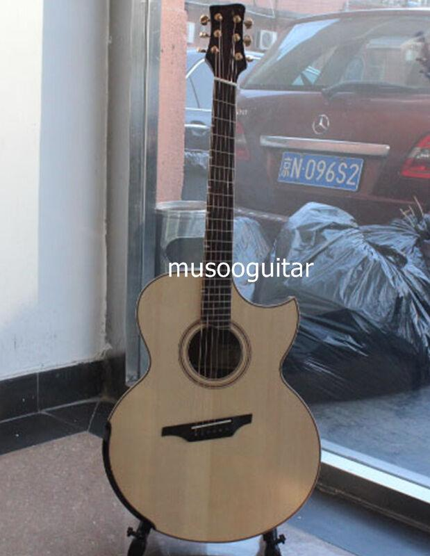 New brand acoustic jumbo guitar with fanned frets by handcraft with softbag