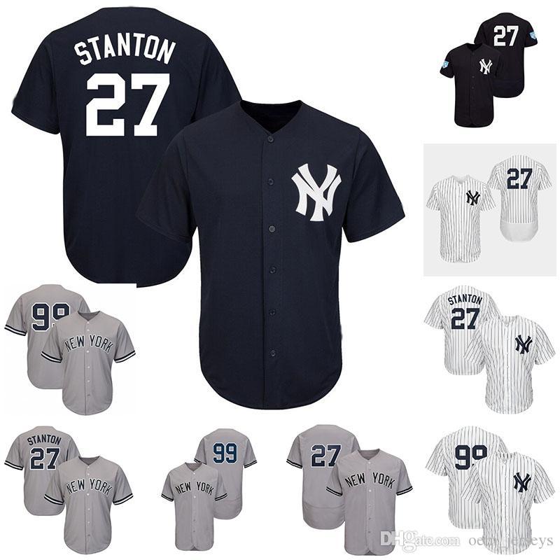 on sale a27cb bd051 Cheap Mens Baseball Jerseys Yankees New York Stanton 27 Giancarlo Aaron 99  Judge Navy White Grey Cool Jersey