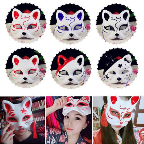 Half Face Fox Mask Japanese Animal Hand-painted Kitsune Halloween Cosplay Mask Party Supplies Girls Halloween Costume
