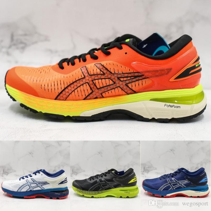 2019 ASICS GEL KAYANO 25 Herren Laufschuhe New Balck Orange Weiß Blau  Designer Sneakers Top-Qualität Männer Sportschuhe