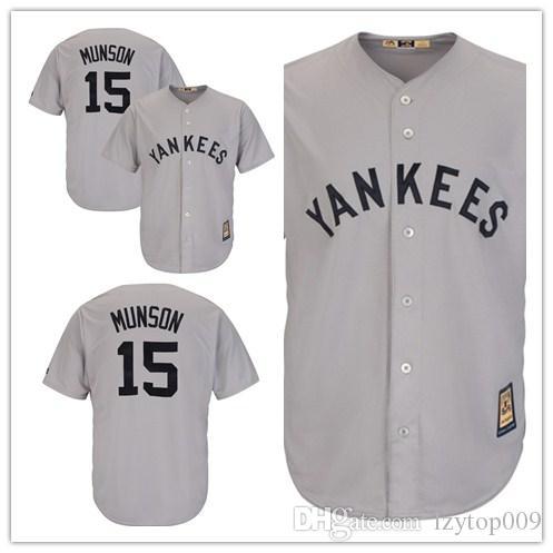 online retailer ca0a7 05c08 custom 2019 Men's Yankees 15 Thurman Munson Mitchell New York& Ness  CreamNavy Throwback 1969 Authentic women kids Jersey