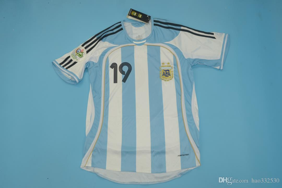 2019 2006 WORLD CUP Argentina 06 Version Men Size Jersey 10RIQUELME