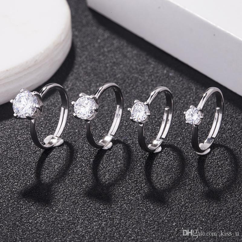 59f68eb3dd New Fashion Simple 925 Sterling Silver Rings Crystal Zirconia Wedding  Finger Rings For Women Bridal Jewelry For Party Event Cultured Pearl  Bracelet Diamond ...