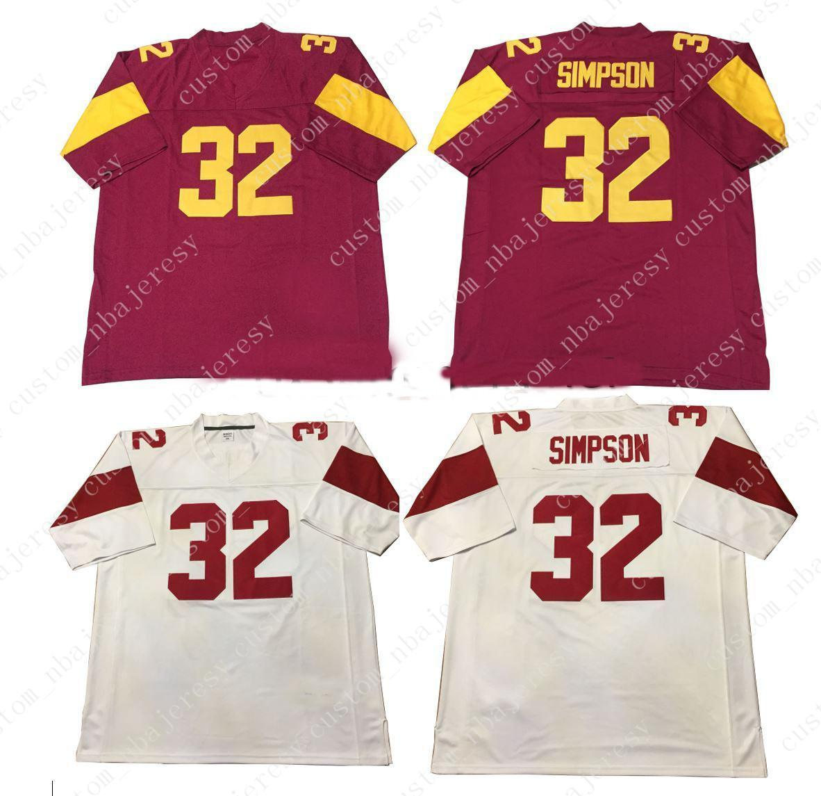 reputable site 0a57a c0d99 Cheap custom OJ Simpson USC Trojans Football Jersey #32 College Football  Customized Any name number Stitched Jersey XS-5XL