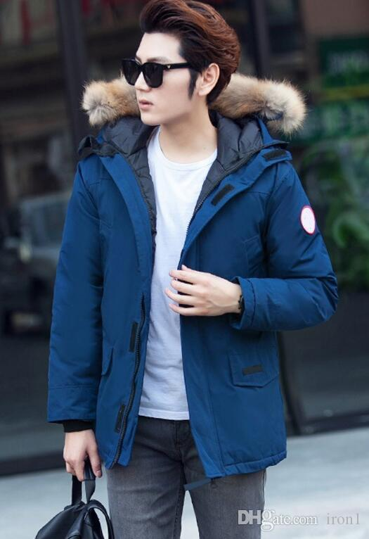 Men's Down & Parkas New Canadian star with the same paragraph warm thick cold cold long slim men's goose down jacket coat