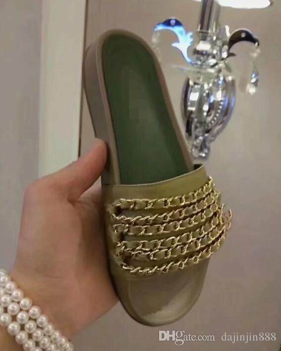 7a0565633f32 New Women S Sandals Sheepskin Leather Female Beach Shoes Slippers Top  Quality Pearl Flower Flip Flops Woman Peep Toe Chain Sandals CC02 Bridal  Shoes Cheap ...