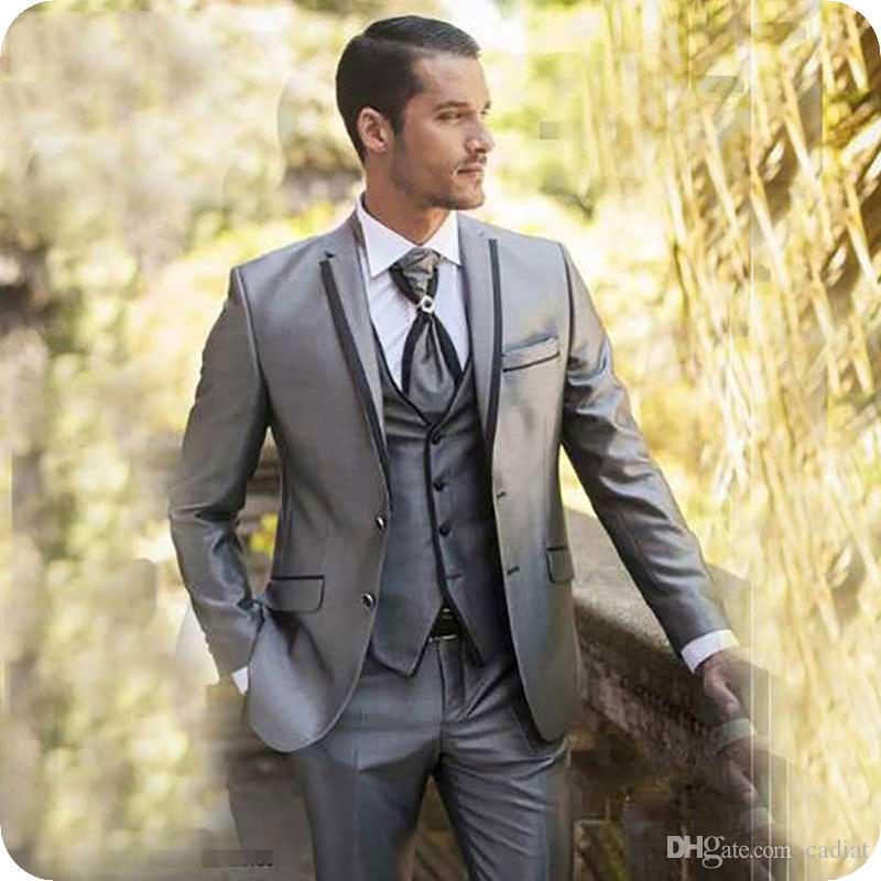 Acheter Slim Fit Grey Mariage Hommes Costumes Marié Porter Homme Tuxedo  Blazer Veste Noir Encolure Revers 3 Pièces Manteau Pantalon Gilet Derniers  Modèles ... 12228a7bead