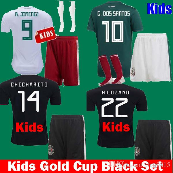 e183a6571 2019 Kids 2019 Mexico Black Gold Cup CHICHARITO G.DOS SANTOS LOZANO Children  2019 Soccer Jerseys Uniform Set 18 19 Boys Kits LAYUN MARQUEZ Shirts From  ...
